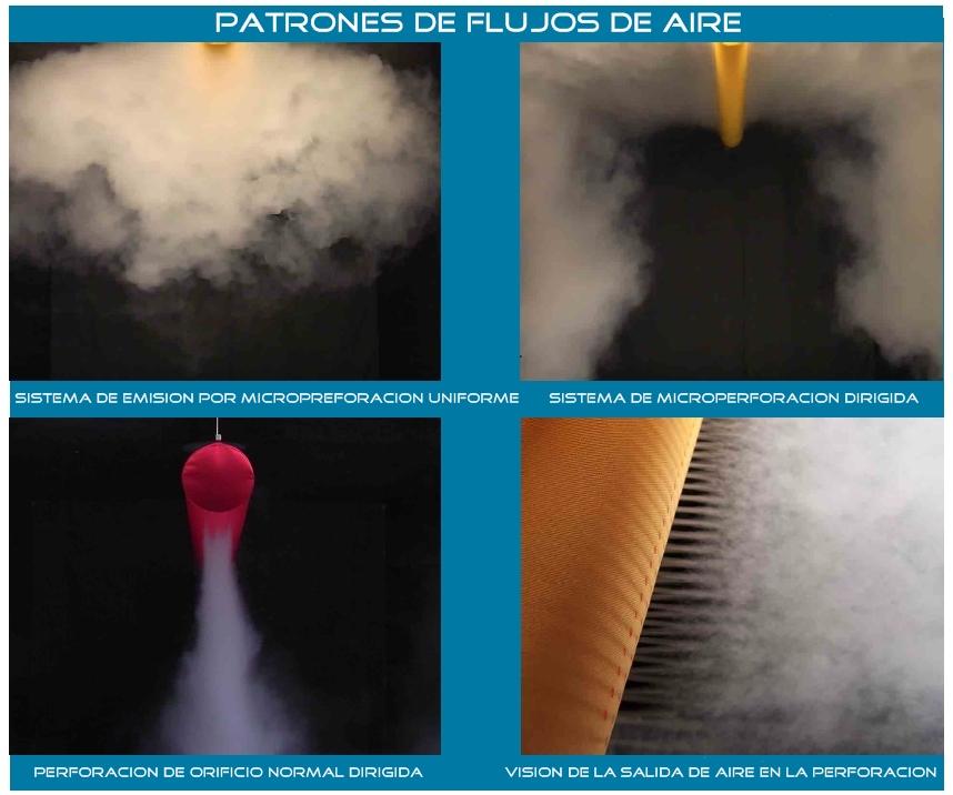 patrones de flujos de aire en difusores textiles