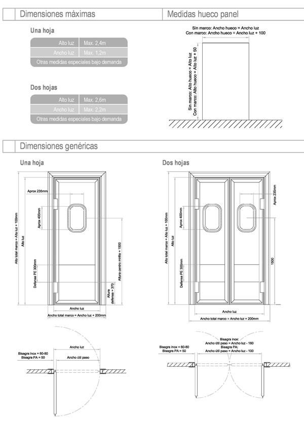 Puertas abatibles de vaiv n para c maras frigor ficas for Puertas galvanizadas medidas