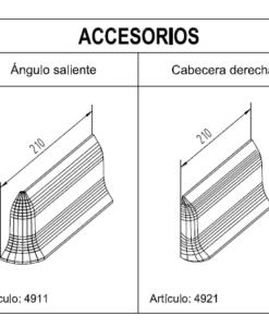 Medidas Accesorios Zócalos Hormigón Polímero altura 100