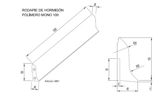 Zócalos de Hormigón Polímero altura 100 mm 2