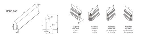 Zócalos de Hormigón Polímero altura 100 mm