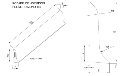 Zócalos de Hormigón Polímero altura 180 mm 2