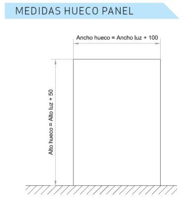 medidas corte hueco en panel puertas correderas