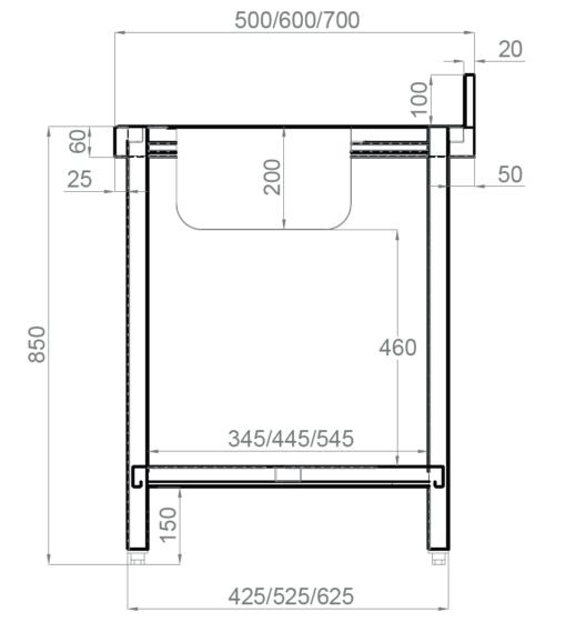 medidas mesa mural soldada CON estante inferior