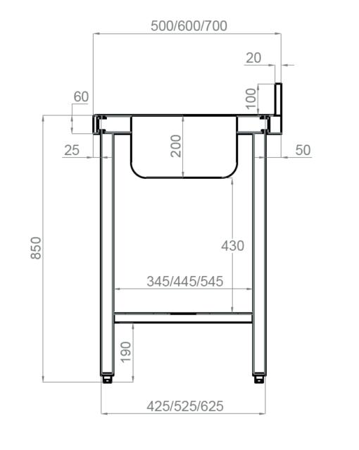 medidas mesa mural soldada sin estante inferior