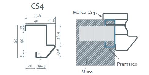 Marco CS4 puerta servicio ensamblada medidas