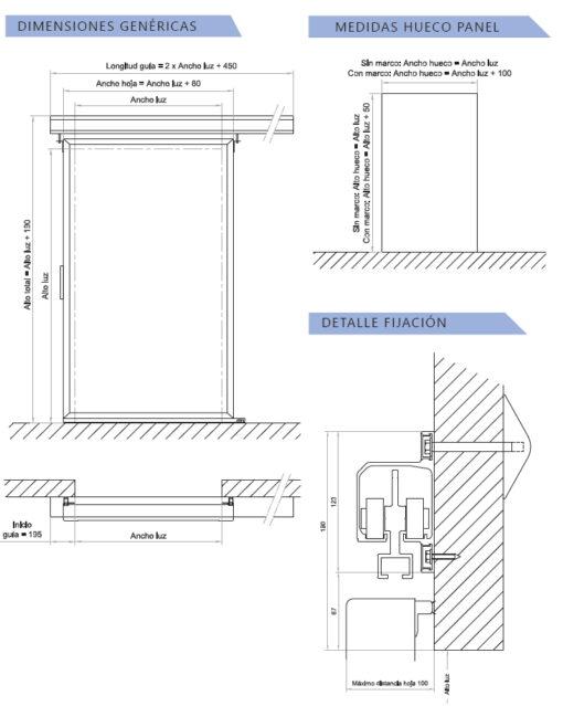 dimensiones puerta corredera de servicico